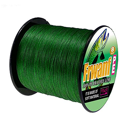 Frwanf Braided Fishing Line 8 Strands Super Strong PE Fishing String ExtremePower Fishing Braid Line for Saltwater and Fresh Water 200LB Test 1000M 1093Yards Moss Green