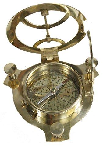 Sonnenuhr-Kompass aus massivem Messing, Sonnenuhr (Sonnenuhr), hergestellt in Indien.