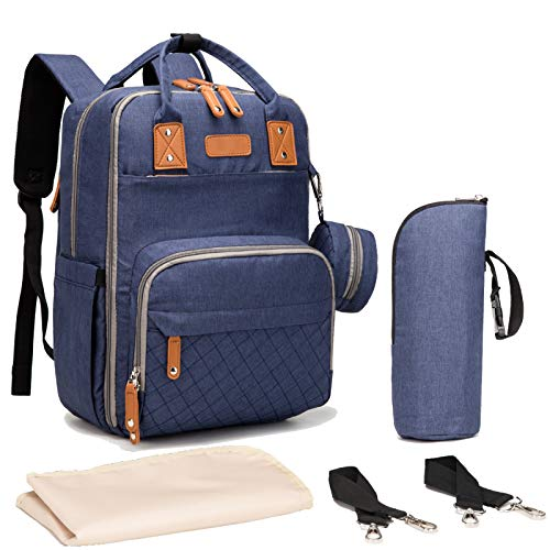 Mochila Cambiador de Pañales para Bebé, Gran Capacidad Bolsa de Pañales con Cambiador y Porta Chupones para Mamá y papá-(Azul)