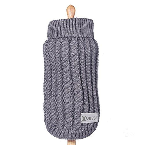 ubest Hundepullover, Sweater Gestrickter Pullover für Kleine Hunde, Hund Pullover für Herbst Winter, Grau, S