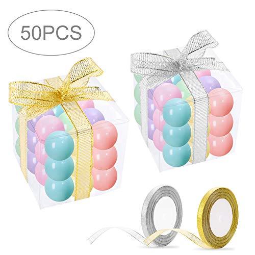 Caja Plegable Cajita Plástica, 50 Pcs Caja Transparente de Embalaje con 2...