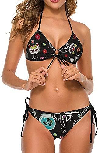 Conjunto de Bikini Sexy con Estilo para Mujer, Dos Piezas, Halter, Verano, Playa, Trajes de baño, Calavera de azúcar, Esqueleto, Gato y pez, Negro, XL