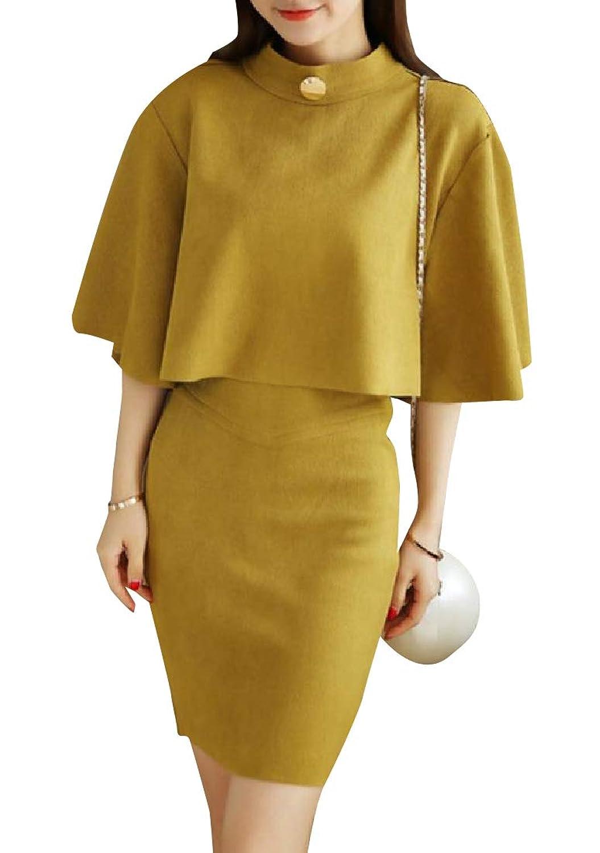 Nicellyer レディーススエード厚くスリムカジュアルボディスカートスカートの衣装