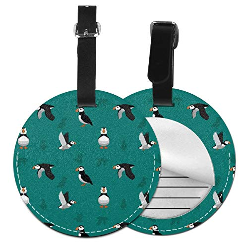 Puffin Birds Round Luggage Tags Leather Baggage Travel ID Labels