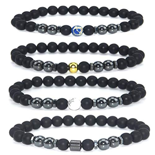 Zhengbenchang 4pcs Anti-swelling Black Obsidian Anklet, Magnetic Therapy Bracelet Adjustable, Weight Loss Magnet Anklet for Men Women Gifts