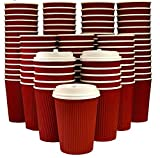 Eco-Friendly  8 Oz Red Ripple Coffee Cups with Lids  Disposable Insulated To Go Paper Cups   400 Cups + 400 fitting Lids