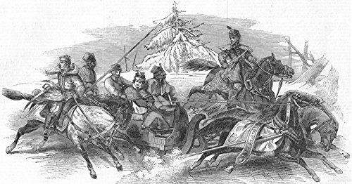 Winter Sport: Lessing 's Schlitten Bild, antiker Druck, 1845