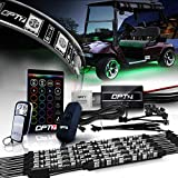 OPT7 Aura Golf Cart Underglow LED Lighting Strips Kit, Neon Golf Car Underbody Accessories, RGB Multi-Color Mode Accent Lights kit with Wireless Remote and Key Chain, w/Switch, 10pc, 12V, Single Row