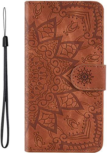 vingarshern Hülle für Xiaomi Mi A3 Handytasche Klappbares Magnetverschluss Lederhülle Flip Etui Standfunktion Schutzhülle Xiaomi Mi A3 Hülle Leder Brieftasche(Mandala-Braun) MEHRWEG