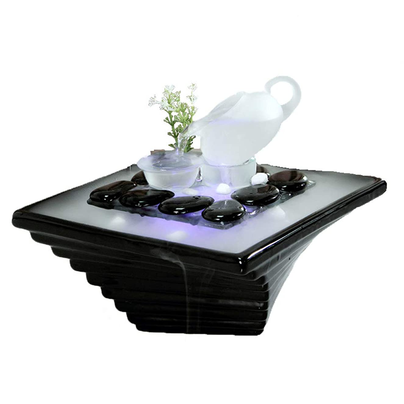 社会科哲学的歌詞エッセンシャルオイルディフューザー空気加湿器セラミッククラフトクリエイティブホームデスクトップ装飾アロマセラピー絶妙なギフト,Black