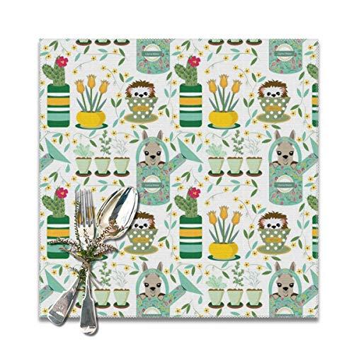 Ameok-Design Indoor-Gartenarbeit Igel Llama Tulpen Gießkanne Kakteen Kräuter gelb petrol grün 6er Set hitzebeständig rutschfest Esstisch Platzmatten für Küche Tisch 30,5 x 30,5 cm