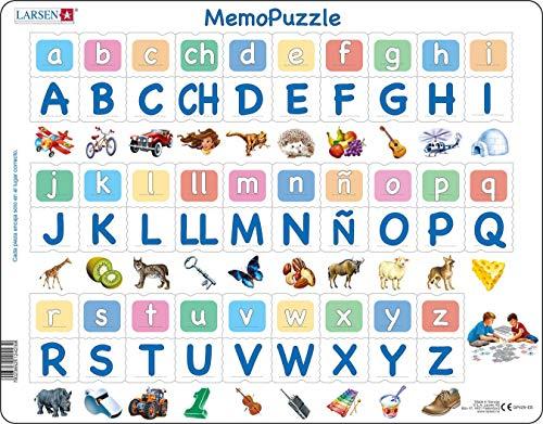 GP429 MemoPuzzle: El Alfabeto con 29 Letras mayúsculas y minúsculas, edición en Español, Puzzle de Marco con 58 Piezas