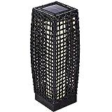 DEUBA Poly Rattan LED Solarleuchte Solarlampe schwarz | 50cm hoch | stehend | Für Garten, Balkon & Terrasse - Außenleuchte Gartenleuchte Gartenbeleuchtung Solar Gartenlampe Außen