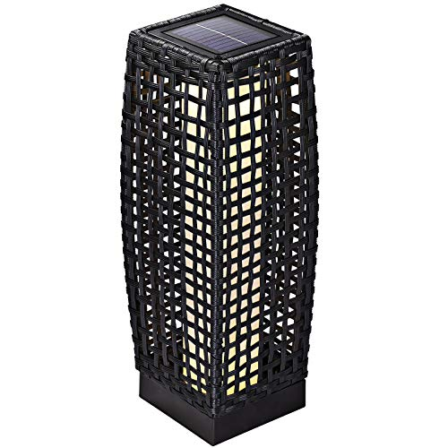 Lampe solaire lumière 25 LED jardin polyrotin noir 50cm lampe d'extérieur panneau solaire protection IP44 bouton ON/OFF chemin jardin terrasse