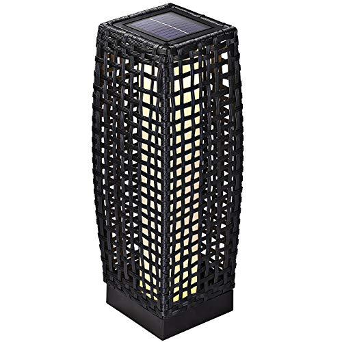 DEUBA Poly Rattan LED Solarleuchte Solarlampe schwarz   50cm hoch   stehend   Für Garten, Balkon & Terrasse - Außenleuchte Gartenleuchte Gartenbeleuchtung Solar Gartenlampe Außen