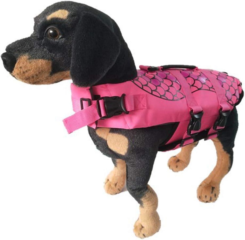 Dog Life Jacket,Size Adjustable Dog Lifesaver Pet Life Preserver,Pink,L