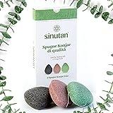 Esponja Facial Konjac | 100% Natural (Juego de 3) Carbón de bambú / Té Verde / Rojo Puro | Exfoliación y Limpieza Profunda de Poros | Esponjas Ecológicas para Pieles Normales Grasas y Sensibles