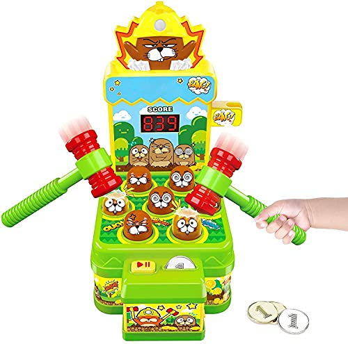 Jouet Enfant Filles Garçons, Jeux Chasse Taupe Mini Jeu Arcade sur Banc de Frappe, Jouets D activité et De Développement pour Jeu Enfant 3 Ans et Plus Cadeau Fille Garçon Bébé