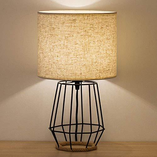 lámpara de mesa moderna, Lámpara de mesilla de noche Shinoske Modern night light - lámpara de mesa elegante, base de metal ahuecada con pantalla de tela de lino para dormitorio, oficina, tipo 2