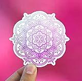 DKISEE Pegatina de vinilo rosa Ombré Mandala Mandala, 3D Mandala, calcomanía para ordenador portátil, Macbook de 6 pulgadas