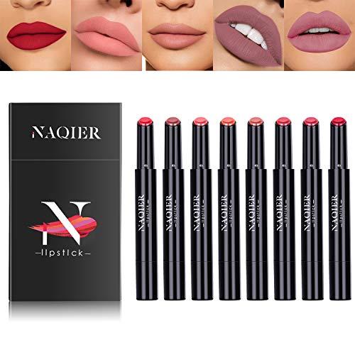 NAQIER Matte Lipstick Set, 8PCS Nude Moisturizer Smooth Lip Stick, Waterproof liquid lipstick mate Make up Velvet lip gloss Cosmetic