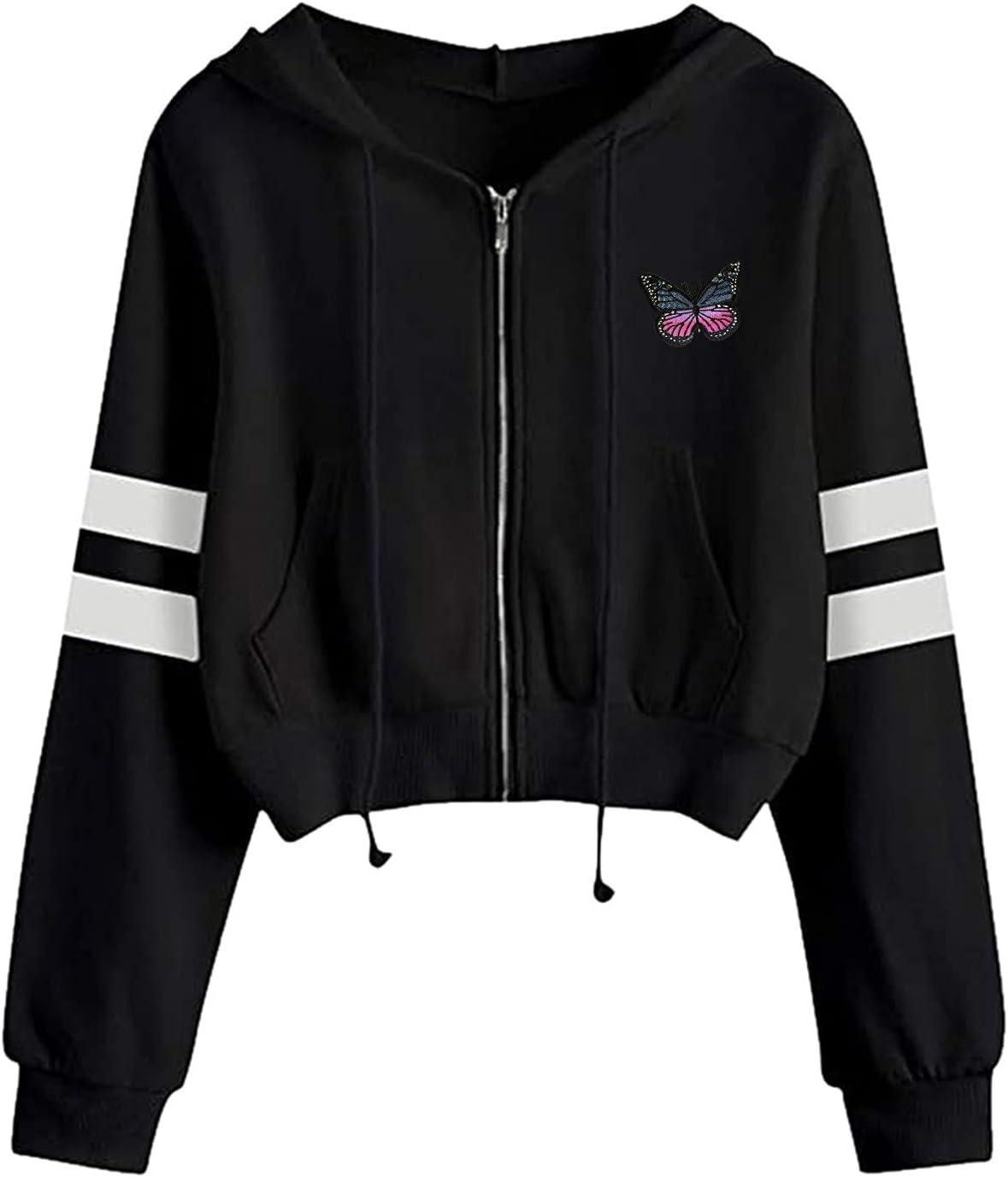Eoailr Crop Sweatshirts Dealing full price Direct stock discount reduction Women Teen Crewneck Girls Sleeve Long Wo