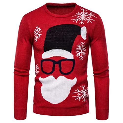 YANGPP Weihnachtssachen Herren Print Langarm O-Neck Strickpullover Pullover Top Winter Und Herbst, Rot, XL