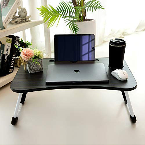 Laptop Desk, Kruta Portable Laptop Bed Tray Table Notebook Stand Reading Holder with Foldable Legs & Cup Slot for Eating Breakfast, Reading Book, Watching Movie on Bed/Couch/Sofa (Black)