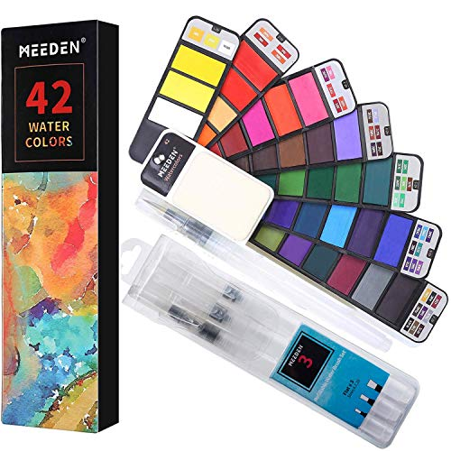 MEEDEN Watercolor Paint Set of 42 Colors with 4 Water Brush Pens - Foldable Portable Travel Watercolor Kit for Plein Air, Field & Outdoor Painting, Nice Gift for Kids, Young Artists & Watercolorists