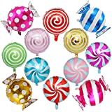 Sweet Candy Balloon Set Candies Theme Swirl Helium Mylar Foil Balloons Party Birthday Decor Supplies Round Daughters 12 Pcs Christmas