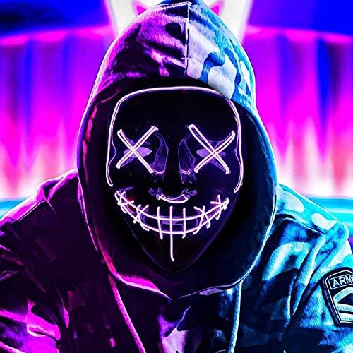 AuLinx LED Maske Karneval,Fasching Grusel Purge Mask Dunkeln Leuchten,für Carnival KostüMspiele Cosplays Feste Partys und Deko Requisiten für Erwachsene MäNner Und Frauen