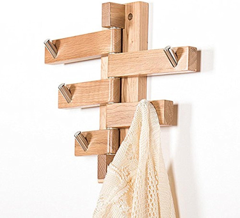 JIANFEI Wall-Mounted Coat Rack 5 Hooks redate Fold, Solid Wood