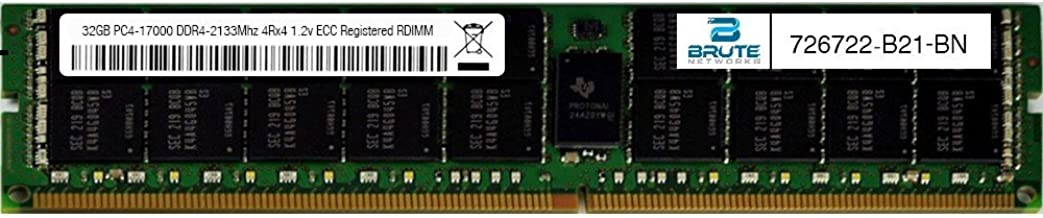 Brute Networks 726722-B21-BN - 32GB PC4-17000 DDR4-2133Mhz 4Rx4 1.2v ECC LRDIMM (Equivalent to OEM PN # 726722-B21)