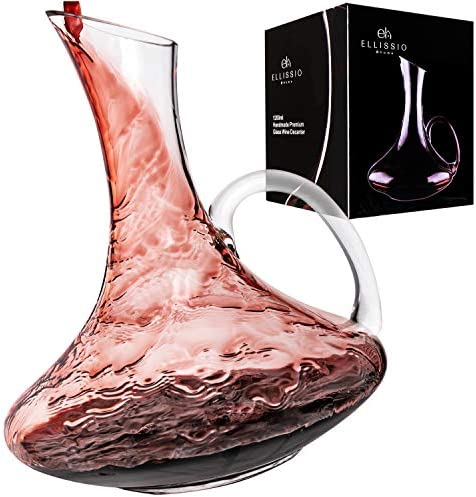 Wine Decanter Crystal Glass Carafe With Handle Gift Accessory Set for Wine Enthusiasts Aerator product image