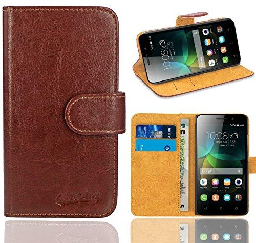 FoneExpert® Huawei G Play Mini / Honor 4C Handy Tasche, Wallet Hülle Flip Cover Hüllen Etui Ledertasche Lederhülle Premium Schutzhülle für Huawei G Play Mini / Honor 4C (Braun)