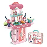 SUPER-ELE Toy Kitchen Pretend Play Set Accessories Realistic Food Toys for 3-5 Years Old Kids Boys...