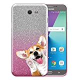 FINCIBO Case Compatible with Samsung Galaxy J7 2017 Sky Pro, Shiny Gradient 2 Tone Glitter TPU Protector Cover Case For Galaxy J7 2017 Sky Pro (NOT FIT J7 2016) - Red Pembroke Welsh Corgi Look For You