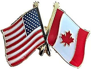 USA American Crossed Friendship Flags Lapel Pin