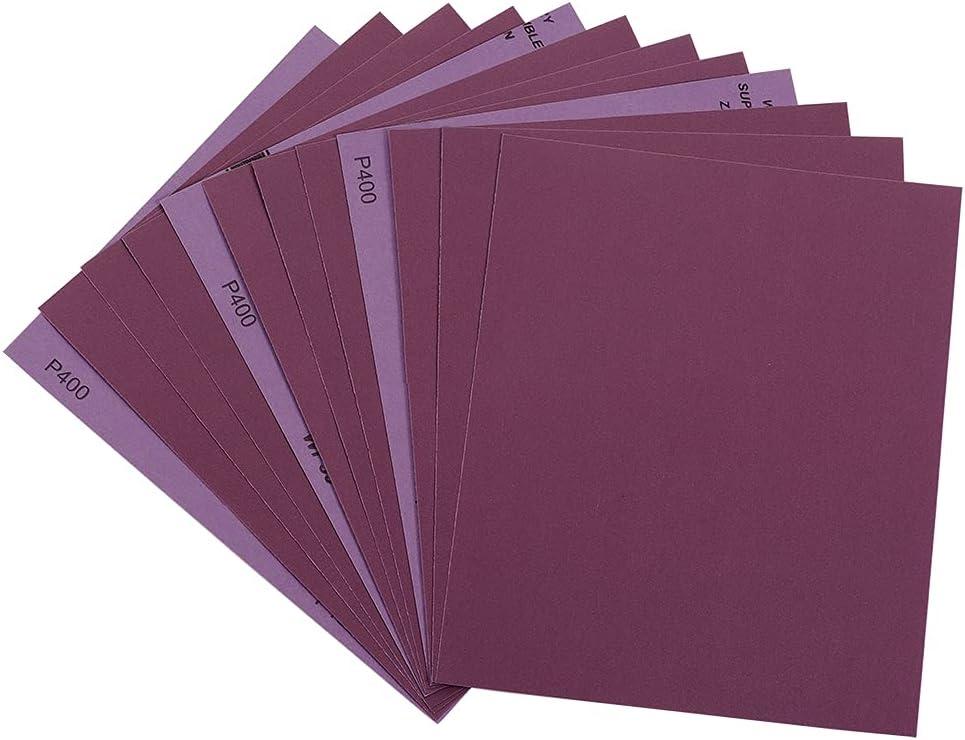 Sandpaper 400 Grit, Wet Dry Sanding Sheets 9 x 11 Inch, Advanced White Fused Alumina Abrasive Sander Paper for Wood Furniture Finishing, Metal Sanding, Automotive Polishing, Purple,12-Sheets