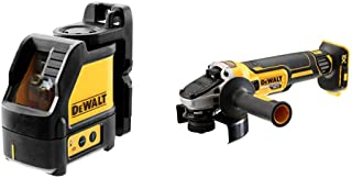 Dewalt DW088CG-XJ Green Beam Cross Line Laser with Carry Case, Yellow/Black & DCG405N 18V XR Brushless 125mm Angle Grinde...