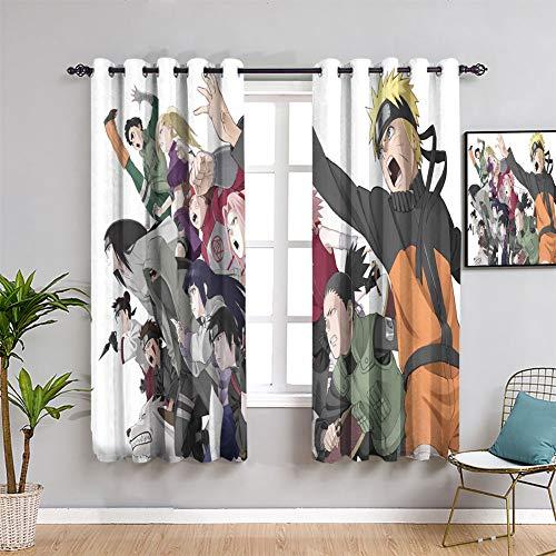Elliot Dorothy Naruto Character Collection - Cortinas opacas con ojales para dormitorio infantil (163 x 150 cm), diseño de película