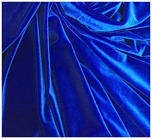 Velvet Fabric by 3 Yards 9 Feet in Royal Blue Color with Elastic Soft Ice Stuff for Sewing Costumes Craft of DIY by Apparel Perfect for Tables, Curtains & Sofa for Home Decoration.