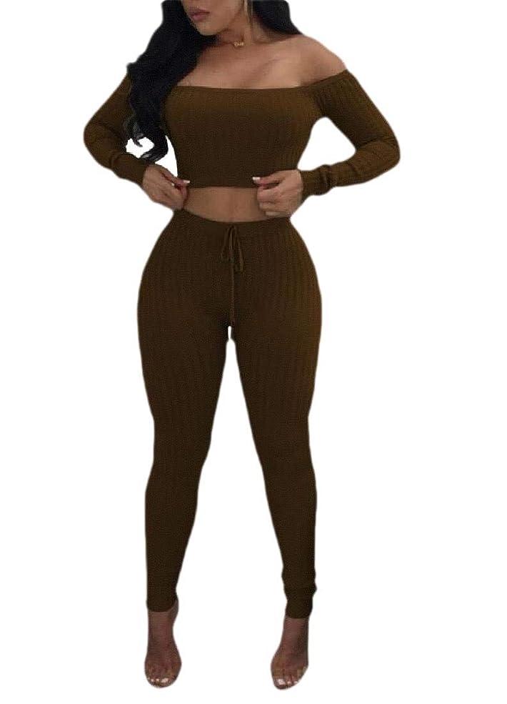 審判リフトブラケットWomen's Fashion Off Shoulder 2 Piece Set Casual Bodycon Casual Outfit Sportswear