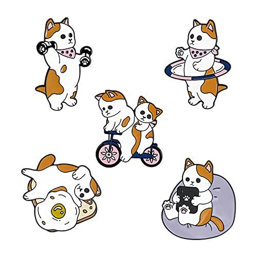 JINJIANG 5piezas de Lindos alfileres gatos abrazo forma de libro novedad dibujos animados lindo broche alfileres para mochilas conjunto de insignias ropa bolsas chaquetas