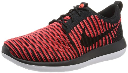 Nike Mens Roshe Two Flyknit Black/Black/Bright Crimson Running Shoe 10.5 Men US