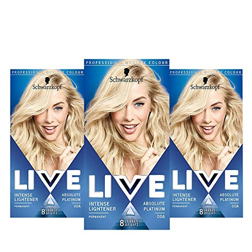 Schwarzkopf Live Intense Blonde Lightener, 3-Pack Permanent Colour with Anti-Yellowing, 00A Absolute Platinum