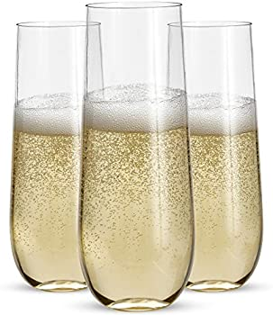 Prestee 24 Stemless Plastic Champagne Glasses 9 Oz