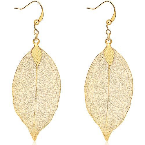 Gleamart filigranen Blatt-Tropfen-Ohrringe Leichte Metallgeschirmte Blätter Ohrstecker lange baumeln Ohrringe Gold
