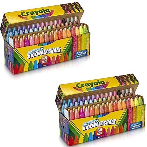 Crayola Washable Sidewalk Chalk, 128 ct, Includes Glitter, Neon