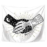 Blanco y Negro Tapiz de Manos Sol Luna Tarot Sentado Manta Colgante de Pared Arte Colgante Dormitorio Sala de Estar Dormitorio